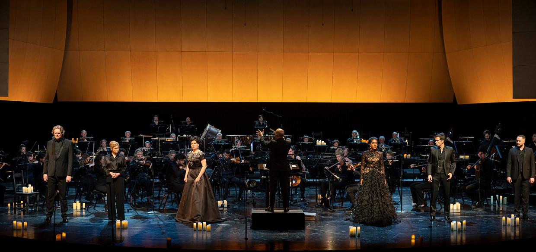 Het ensemble in Donizetti Queens in Concert van De Nationale Opera.