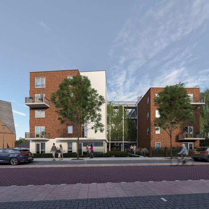 Schetsontwerp Vissershof, met tussen de appartementen een binnentuin.