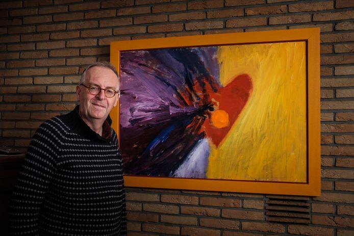 Herman Plasmans bij een van zijn werken