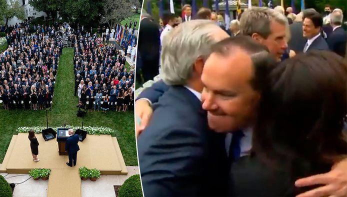 Sur les images de la cérémonie de samedi dernier, on voit le sénateur allègrement enlacer d'autres participants