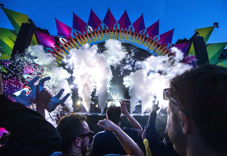 David Guetta draait tijdens de 25e editie van het dancefestival Dance Valley in Spaarnwoude. Beeld ANP Kippa