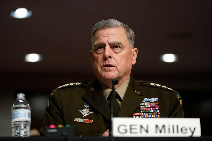 De Amerikaanse topgeneraal Mark Milley  tijdens zijn verhoor in de Amerikaanse Senaar.