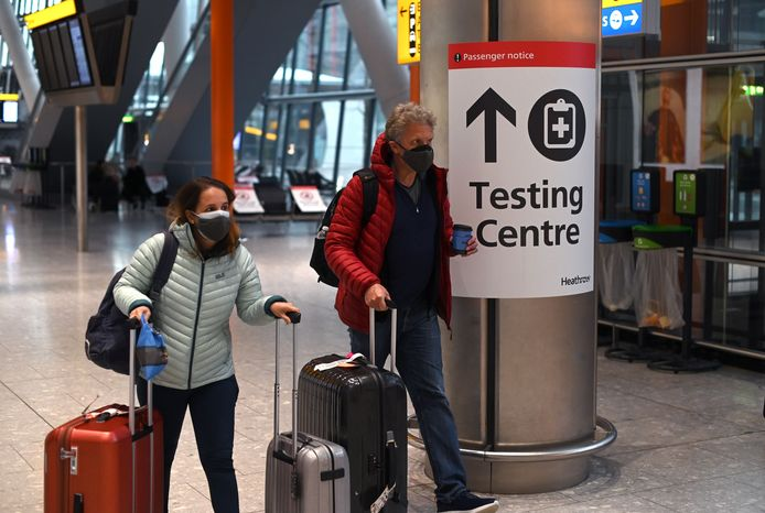 Passagiers op Heathrow, begin deze maand.