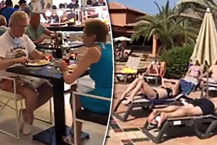 Gasten tafelen in het restaurant en zonnebaden in het in quarantaine geplaatste hotel op Tenerife.