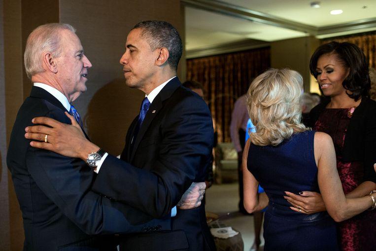 Barack en Michelle Obama vieren samen met Joe en Jill Biden de verkiezingswinst van 2012.  Beeld The White House