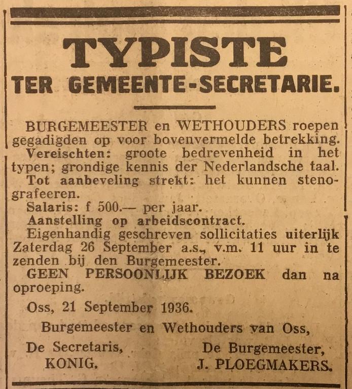 Advertentie voor een typist of een typiste uit 1936. Opmerkelijk is dat voor beiden het salaris gelijk was.