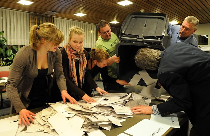 Stemmen tellen in Cuijk, bij eerdere verkiezingen.