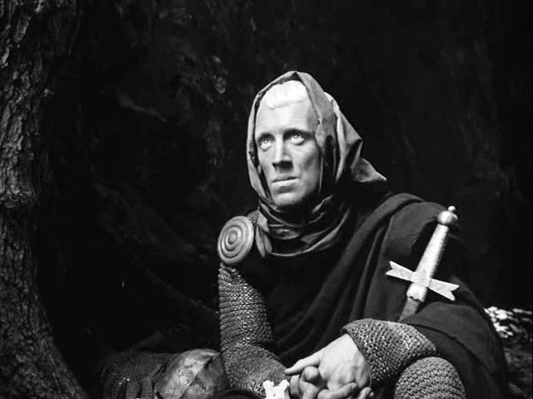 Von Sydow als ridder in 'Het Zevende Zegel' (1957)  Beeld