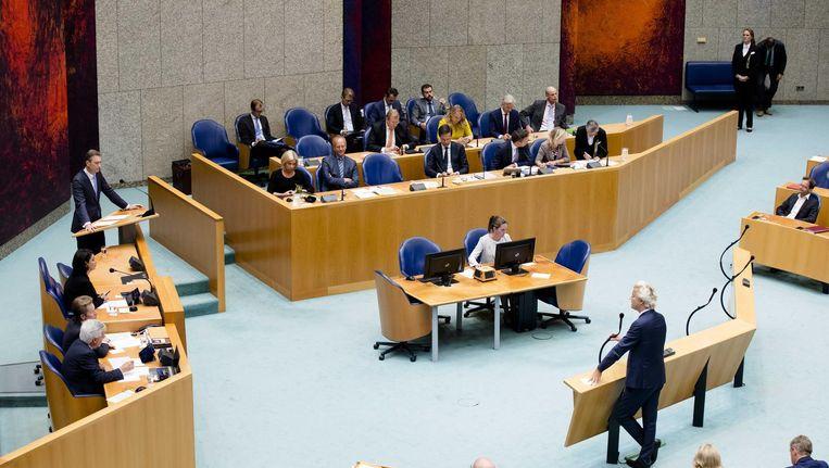 Wilders tegenover Zijlstra tijdens de APB. Beeld anp