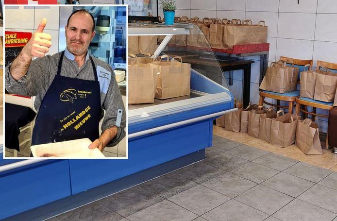 De tasjes staan klaar in de winkel om opgehaald te worden. Inzet: Abeilah Elbouzrute in zijn zaak.