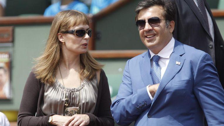 Michail Saakasjvili en zijn vrouw Sandra Roelofs Beeld ANP
