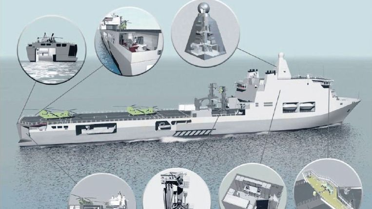 Het nieuwe bevoorradingsschip dat nu in Vlissingen ligt om afgebouwd te worden, zal waarschijnlijk nooit voor de Nederlandse marine varen. Beeld Ministerie van Defensie