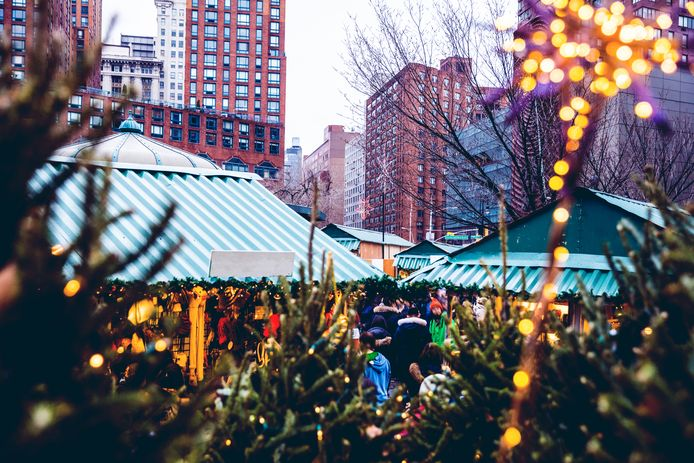 Een kerstmarkt in Union Square in Manhattan.