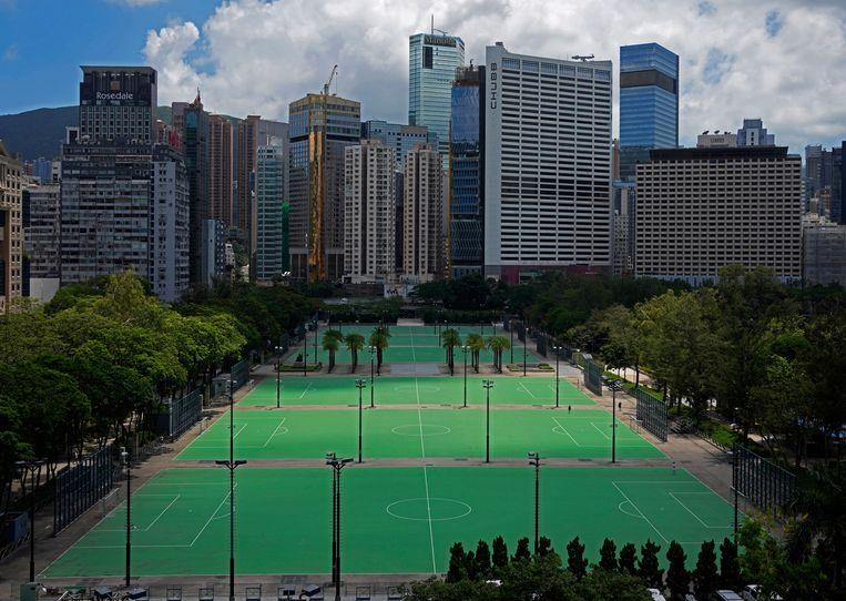 Victoria Park in Hongkong. Een wake in het park zit er dit jaar wederom niet in. Beeld AP