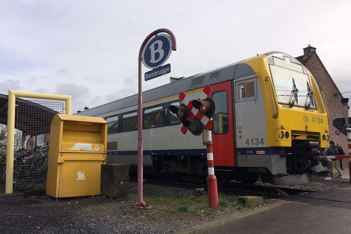 Het scholierentreintje aan de treinhalte Bambrugge op spoorlijn L82.