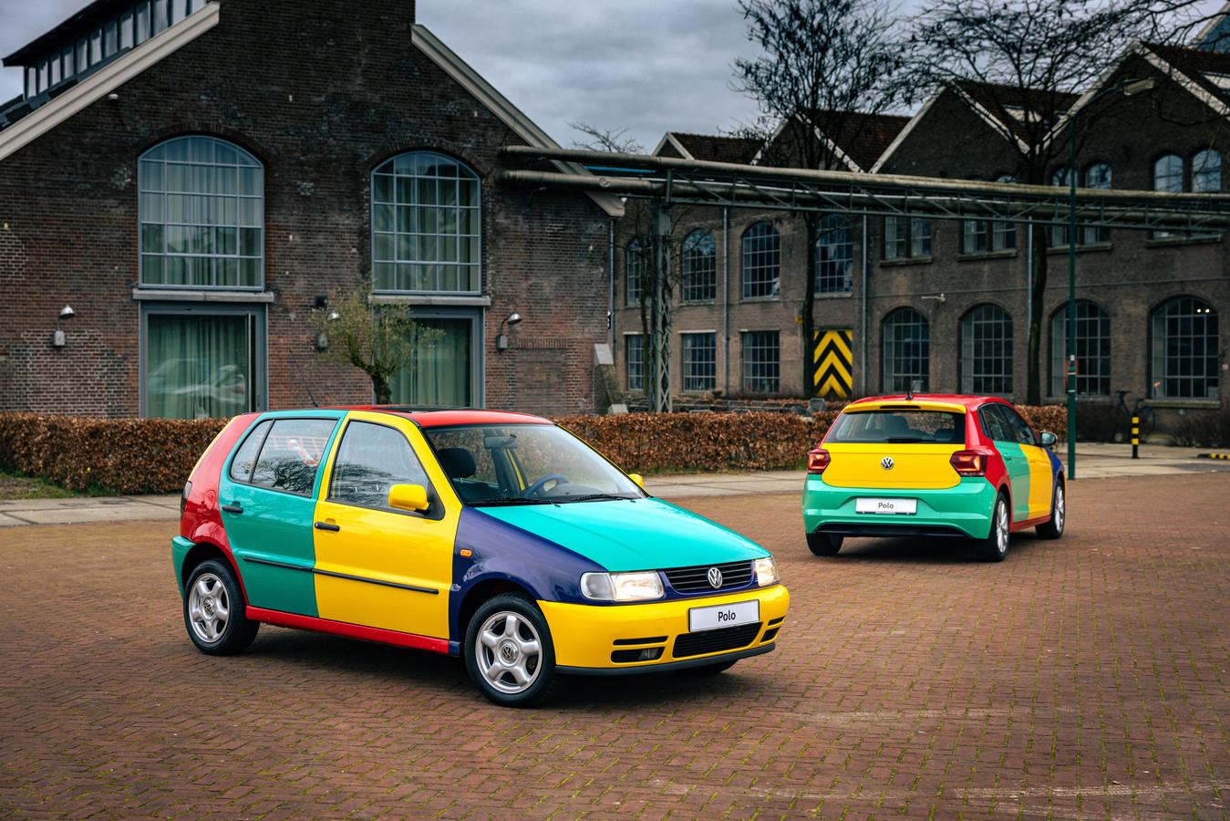Het origineel uit 1995 van naderbij bekeken, rechts de Volkswagen Polo Harlekin 2021.