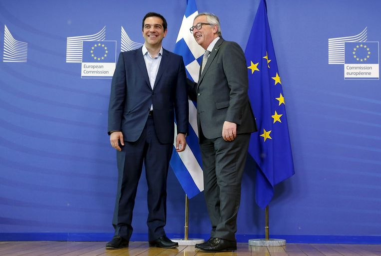 Alexis Tsipras en Jean-Claude Juncker Beeld reuters