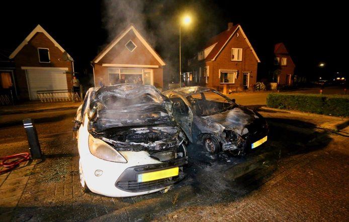 Auto's in brand aan de Meerwijk in Waardenburg.