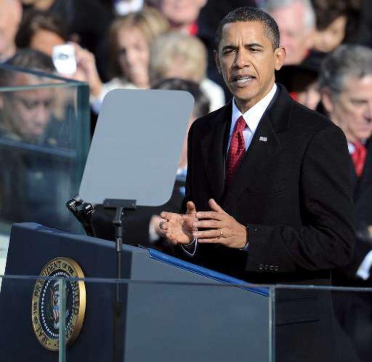 De kersverse 44ste president Obama tijdens zijn presidentiële rede. Beeld UNKNOWN