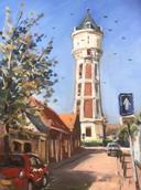 """De watertoren aan de Dokter Heijptstraat, maar dan vanaf de andere kant en bij mooier weer. Geschilderd in olieverf door Jos Antens uit Roosendaal: ,,Met zonlicht is het makkelijker om een interessant schilderij te maken."""""""