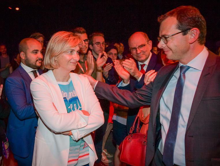 Hilde Crevits en Wouter Beke op de CD&V-bijeenkomst in Brussel.