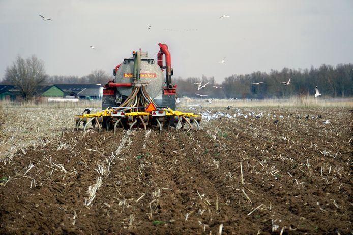 Ter illustratie: het land wordt geïnjecteerd met mest door een loonwerker.