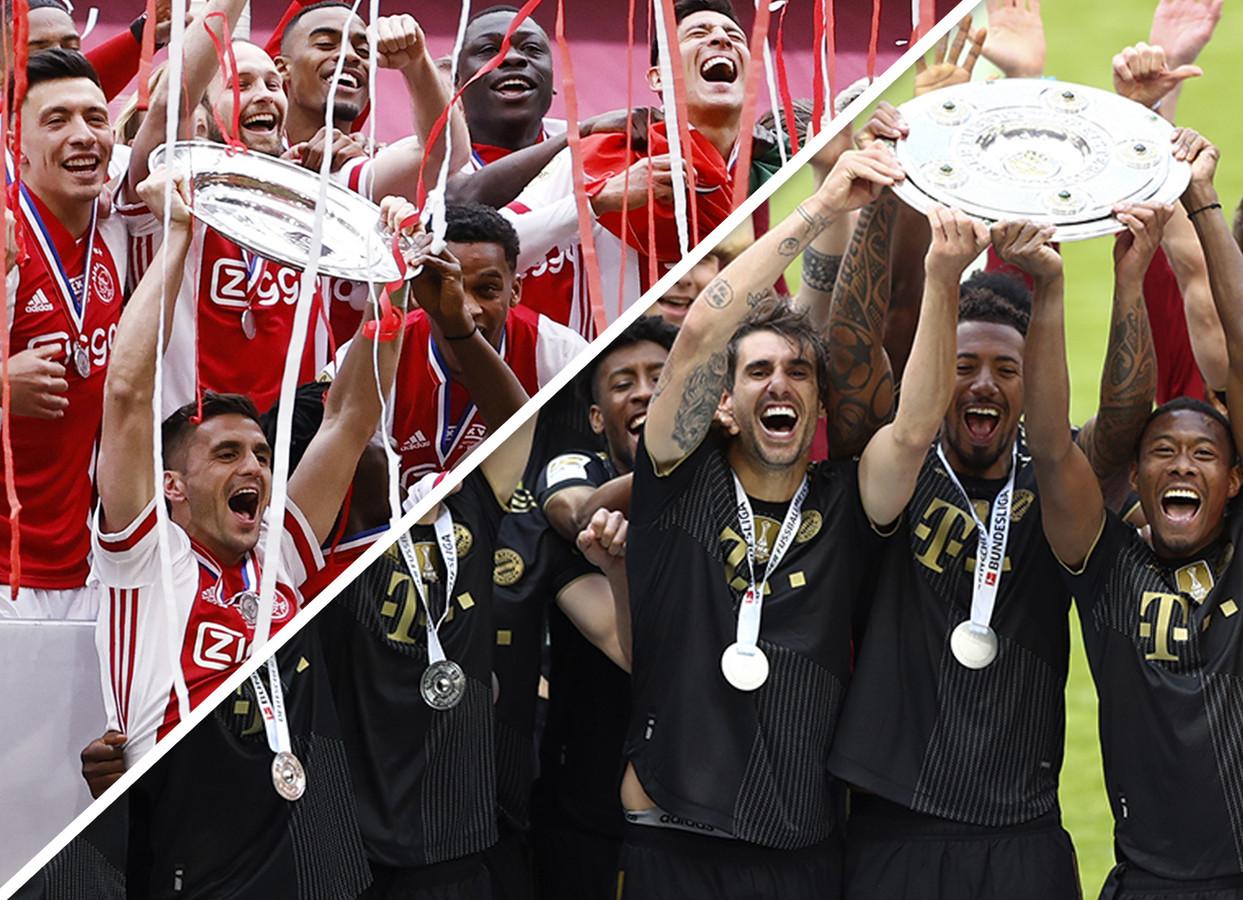 Ajax en Bayern stonden vorig seizoen - weer - met  de kampioenschaal in handen.