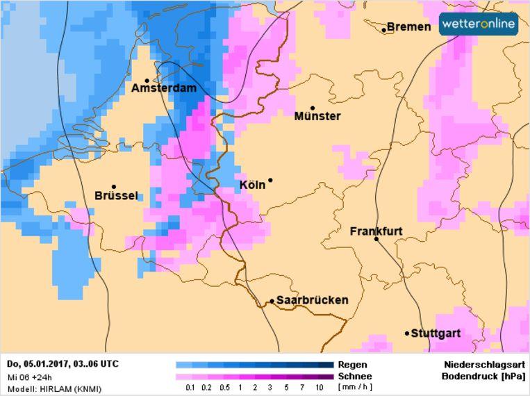 Sneeuwkansen voor woensdagnacht over het oosten van de Benelux. Beeld Wetteronline.de