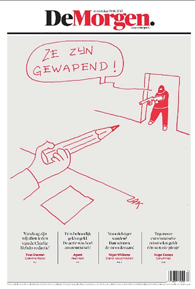 De voorpagina van de Belgische krant De Morgen. Beeld Twitter