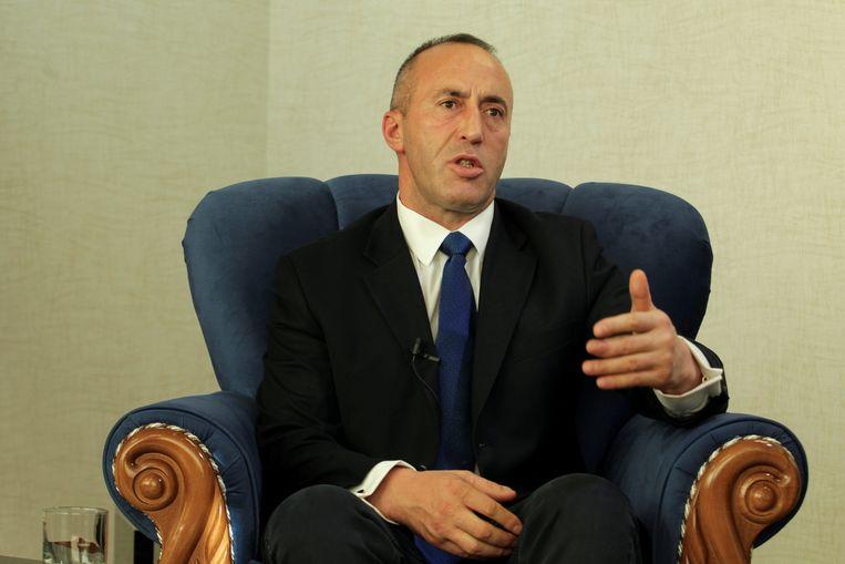 Premier Haradinaj van Kosovo tijdens een interview met persbureau Reuters in 2017.  Beeld REUTERS