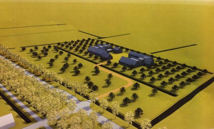 Tekeningen van de twee woonblokken die moeten komen in de polder Bloemendaal werden afgelopen jaar gepresenteerd.