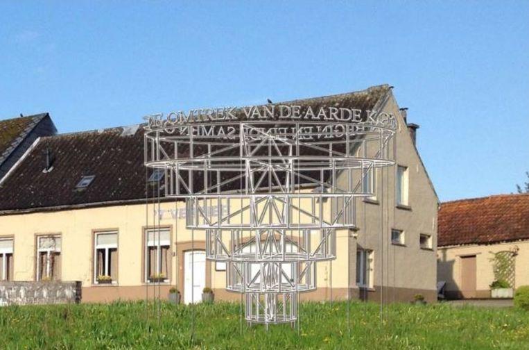 Het hopmonument wordt tijdens de kermis in Meldert ingewijd.
