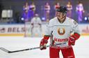 Loekasjenko tijdens een wedstrijd van zijn persoonlijke ijshockeyteam.