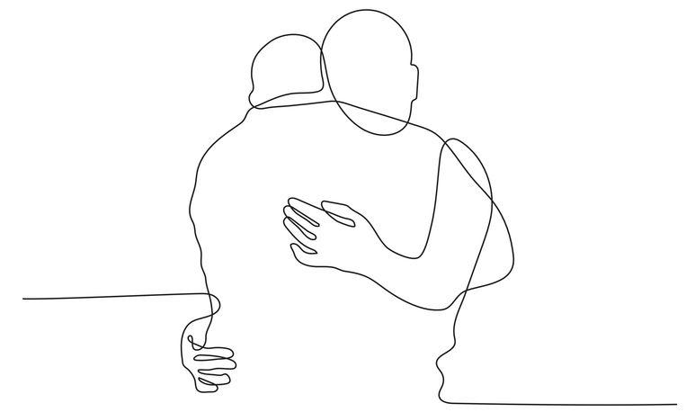Psycholoog en lichaamstaalexpert Denise Dechamps: 'Hoe meer prettig huidcontact er is, hoe meer 'knuffelhormoon'   oxytocine iemand aanmaakt.' Beeld Shutterstock