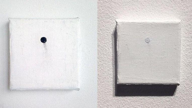 Portret of the Nail Behind the Canvas voor het overschilderen en erna (rechts). Beeld null