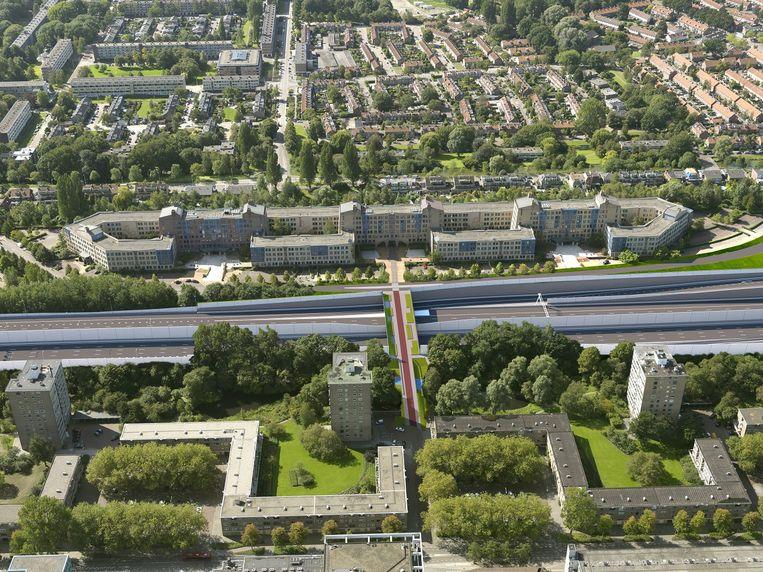 Ontwerp van de verbreding van de A9 bij Amstelveen en Ouderkerk aan de Amstel. Beeld Rijkswaterstaat