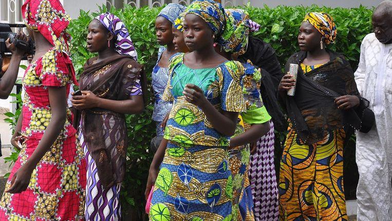 Schoolmeisjes die konden ontsnappen van Boko Haram. Beeld afp