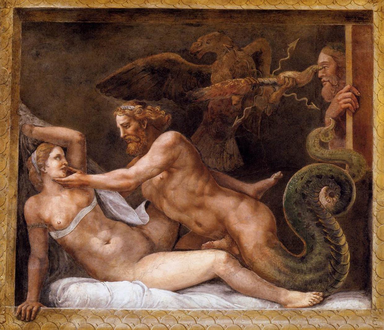'Jupiter verleidt Olympias' van Giulio Romano uit de 16de eeuw toont expliciet een verkrachtingsscène. 'De focus ligt ook op het mannelijke geslachtsdeel, iets wat we vooral met porno associëren.' Beeld Giulio Romano