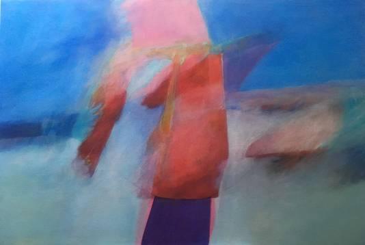 'Geen titel' door Beppie Lotterman. Het schilderij inspireerde dichter Jan Rikken tot het gedicht 'Zusje aan zee'
