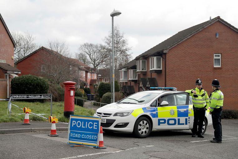 Britse politie in Salisbury, de Britse stad waar Russische agenten probeerden spion Sergei Skripal te vergiftigen. Beeld AP