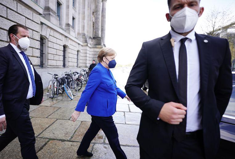 Merkel verlaat de Duitse Bondsdag in mei.  Beeld Michael Kappeler / DPA