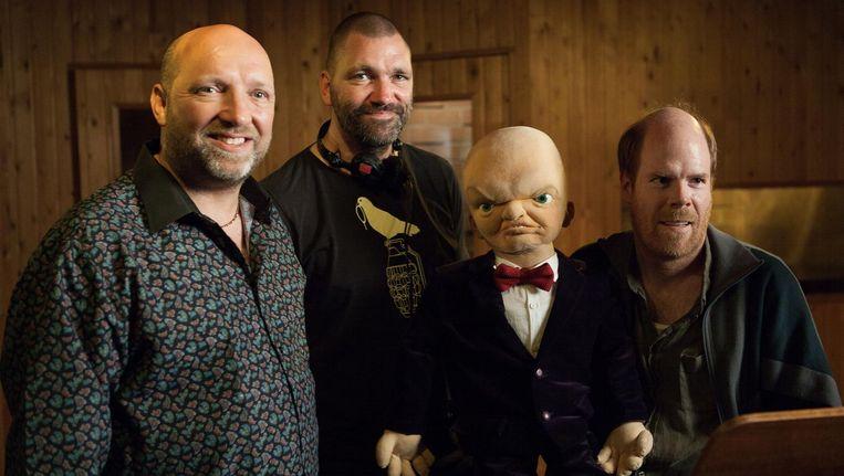 Ruben van der Meer ('geen vriend!'), regisseur Theo Maassen, pop Billy en Bruno Vanden Broecke als buikspreker Beeld Pupkin Film