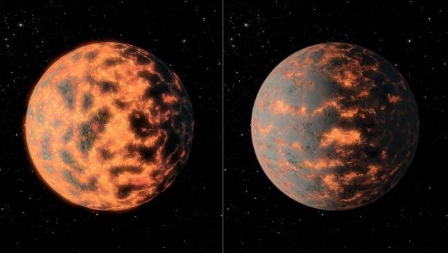 Met de Spitzer-ruimtetelescoop werd de warmtestraling gemeten van planeet 55 Cancri e. Die blijkt zwaar te schommelen.