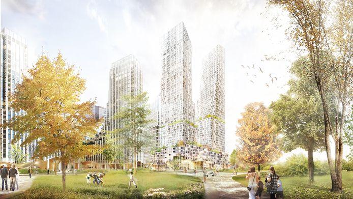 De twee woontorens in het Bellevue-plan worden 180 meter hoog. In de illustratie is links ook de toekomstige bebouwing van het Koningin Juliananaplein opgenomen.