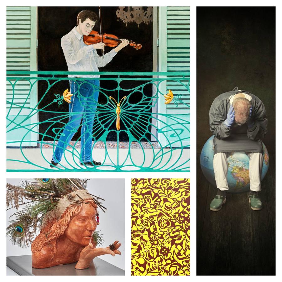 Collage van werken die ingezonden zijn. Werken van Walter Hagenaars (linksboven), Carola Kayen-Mouthaan (rechts), René Kools (linksonder) en Niels Lous (onder in het midden).