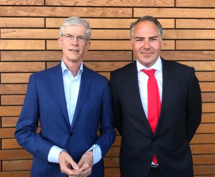 Hans Smits en Ivo van der Mark, de vertrekkende en komende bestuursvoorzitter van bouwer Janssen de Jong.