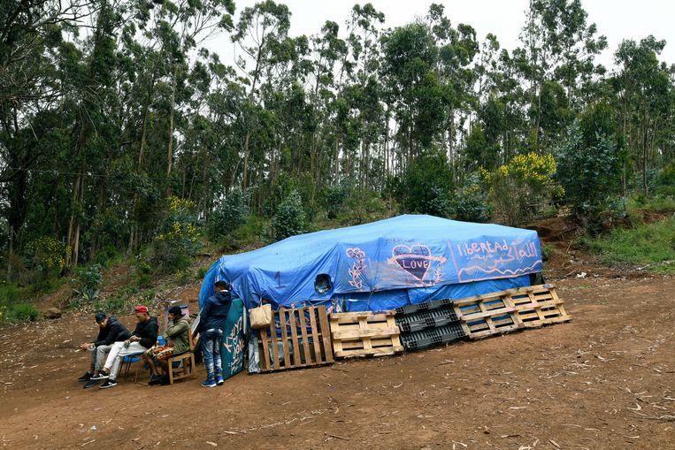 Een geïmproviseerde tent in opvangkamp Las Raíces. In 2020 kwamen zo'n 23.000 vluchtelingen uit West-Afrika aan op de Canarische eilanden. Beeld NurPhoto via Getty Images