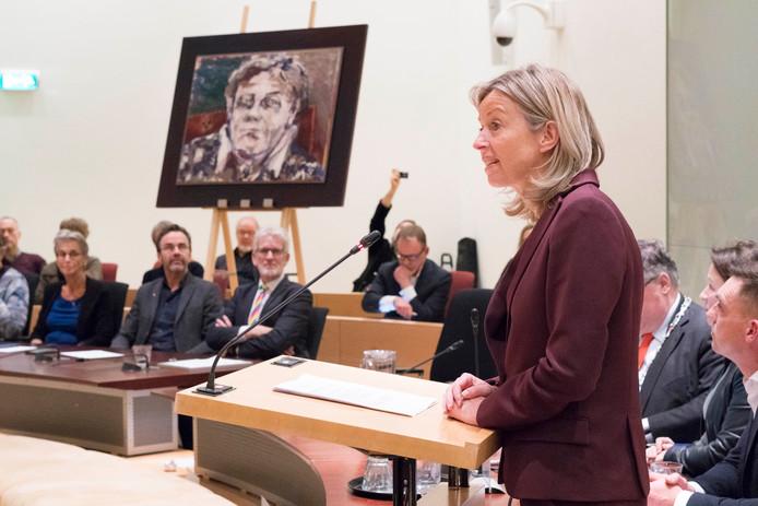 Minister van Binnenlandse Zaken Kaja Ollengren spreekt de Ien Dales Lezing uit, vrijdagavond op het stadhuis van Nijmegen.