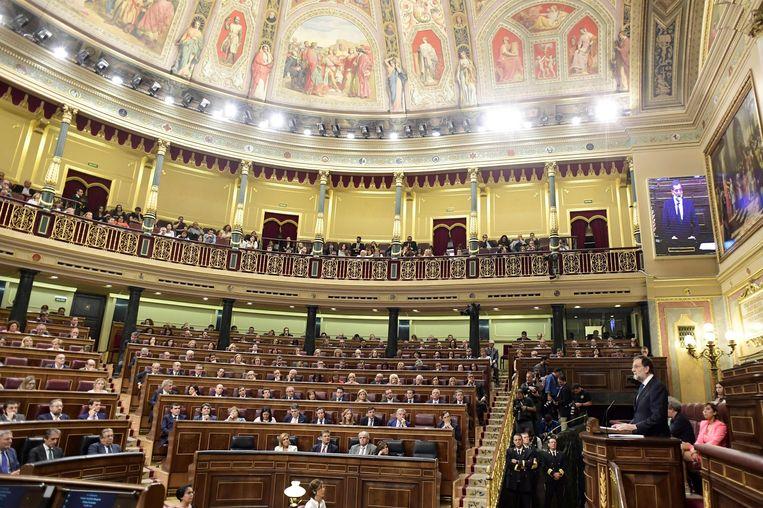 De Spaanse premier Rajoy sprak deze namiddag het parlement in Madrid toe.