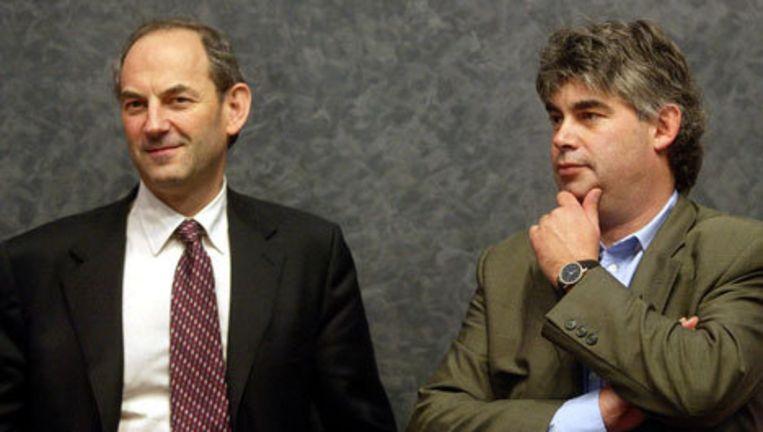 Job Cohen en Rob Oudkerk in november 2002. Archieffoto ANP Beeld